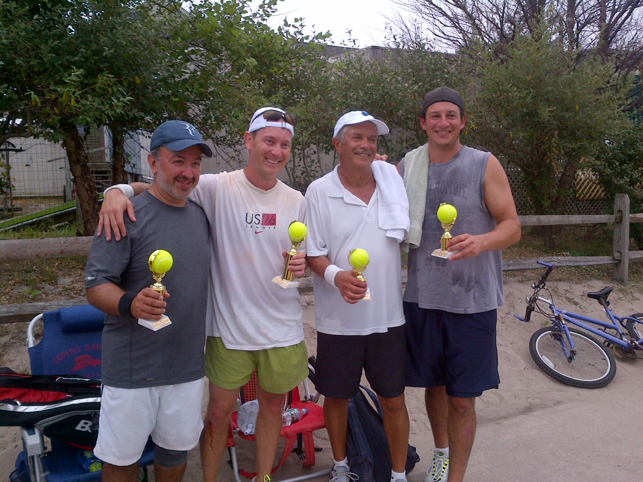 From Left to Right:  The 2013 Winners:  - Anthony Cutrone & Peter Taub.   2013 - Runners up: Marty Mark & Jason Perna